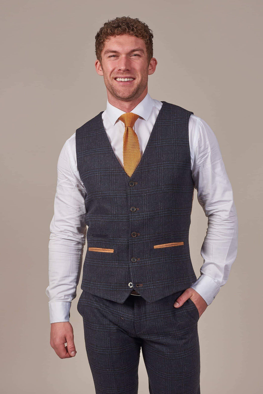 Fratelli Navy Check Tweed Style Waistcoat With Tan Trim