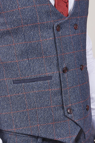 Fratelli Navy Double Breasted Waistcoat With Burgundy Overcheck