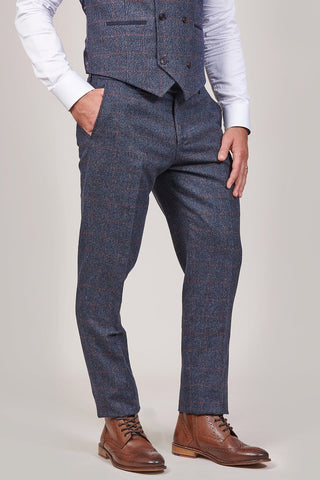 Fratelli Navy Trousers With Burgundy Overcheck