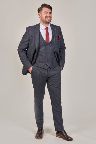 Fratelli Navy With Burgundy Overcheck 3 Piece Suit fratelli-navy-blazer-with-burgundy-overcheck / fratelli-navy-double-breasted-waistcoat-with-burgundy-overcheck / fratelli-navy-trousers-with-burgundy-overcheck