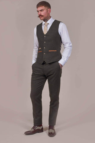 Fratelli Olive Tweed Style Trousers