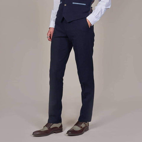 Fratelli Plain Navy Trousers 30R / navy
