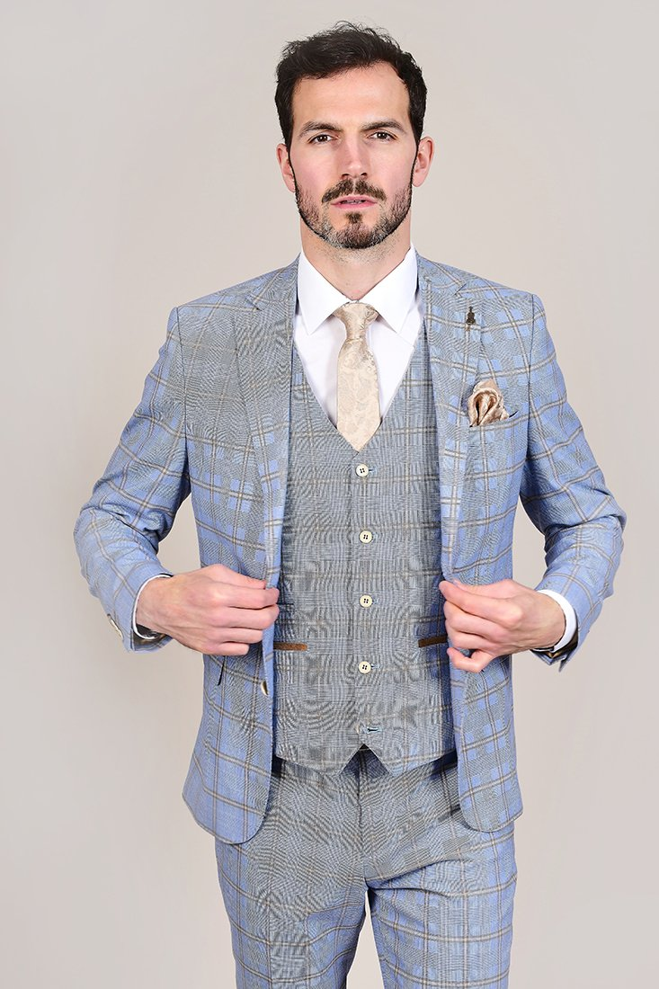 Fratelli Sky Blue Windowpane Check 3 Piece Suit fratelli-sky-blue-windowpane-check-blazer / fratelli-sky-blue-windowpane-check-waistcoat / fratelli-sky-blue-windowpane-check-trousers