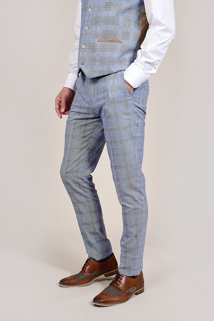 Fratelli Sky Blue Windowpane Check Trousers