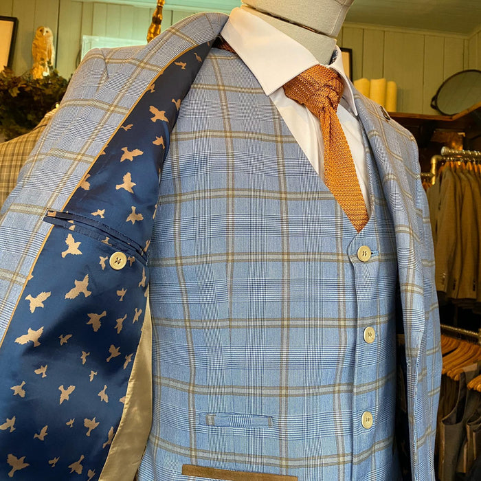 Fratelli Sky Blue Windowpane Check Waistcoat