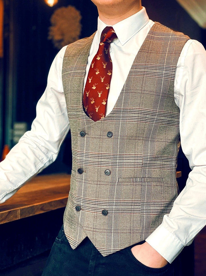 Fratelli Tan Check Waistcoat & Jean Look fratelli-tan-prince-of-wales-check-waistcoat / master-debonair-white-shirt-with-floral-trim / products/blend-dark-wash-jeans