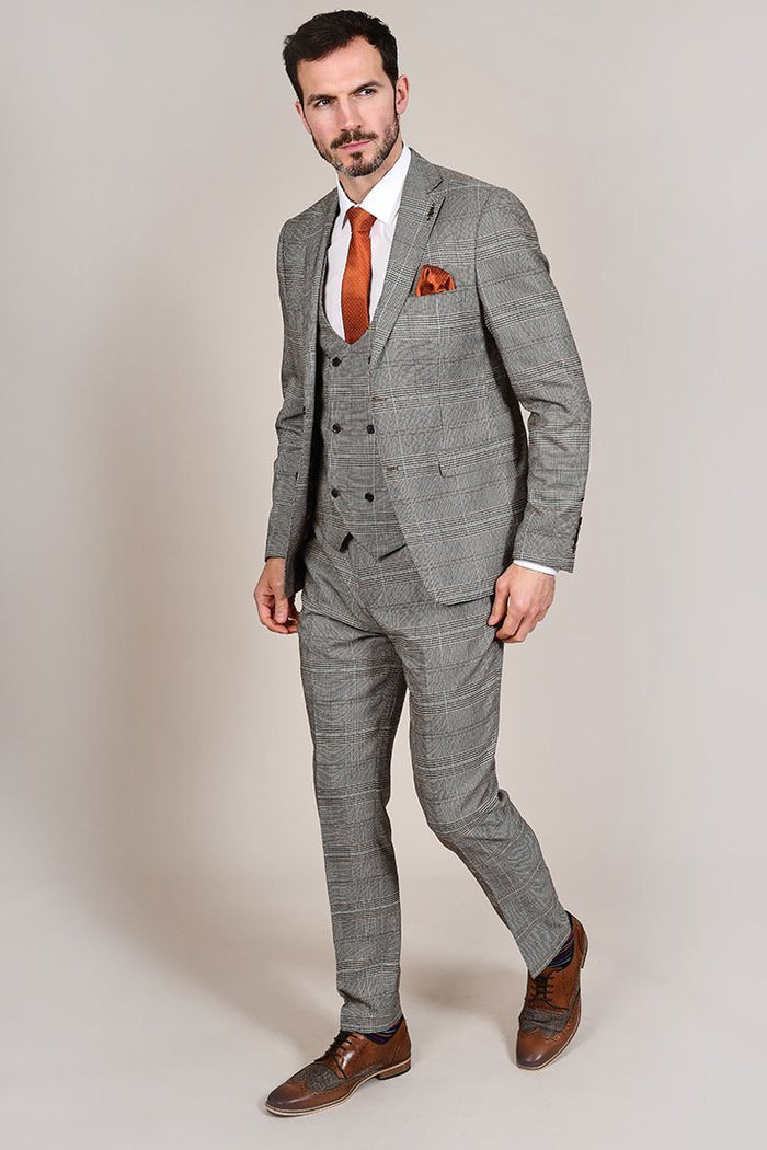 Fratelli Tan Prince Of Wales Check Trousers