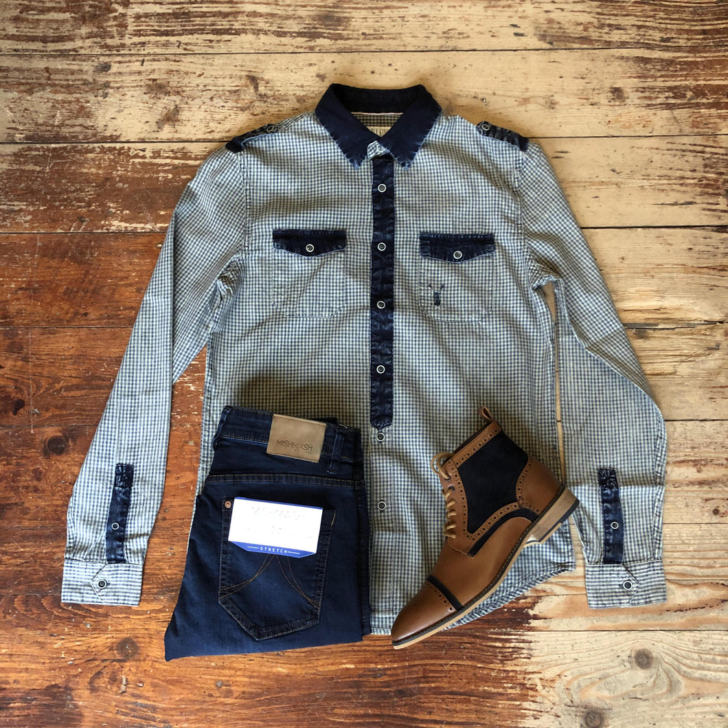 Gingham Check Shirt Casual Look howl-military-long-sleeve-shirt-gingham / mish-mash-1984-mustang-dark-wash-tapered-fit-jeans / cavani-modena-tan-boots
