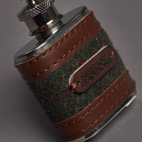 Green Check Tweed 1oz Hipflask Key ring