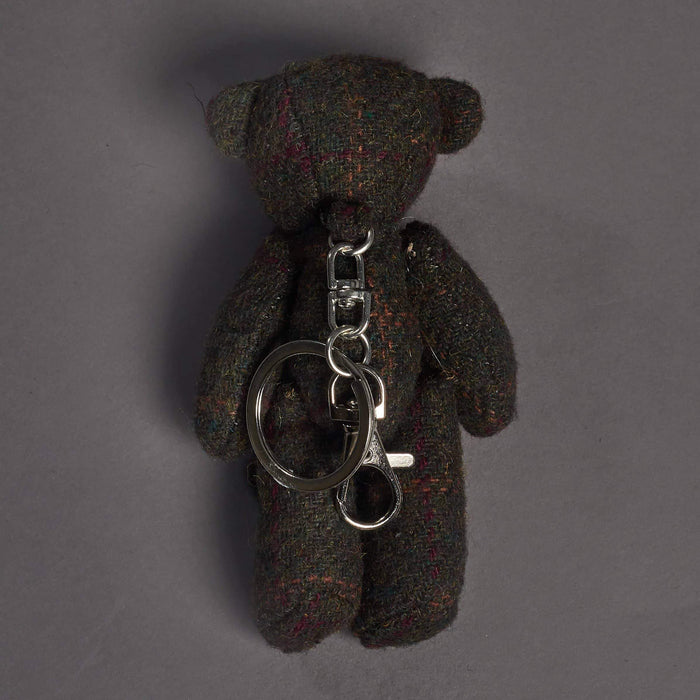 Green Check Tweed Bear Key Ring