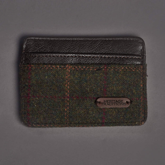 Green Check Tweed Card Holder Wallet