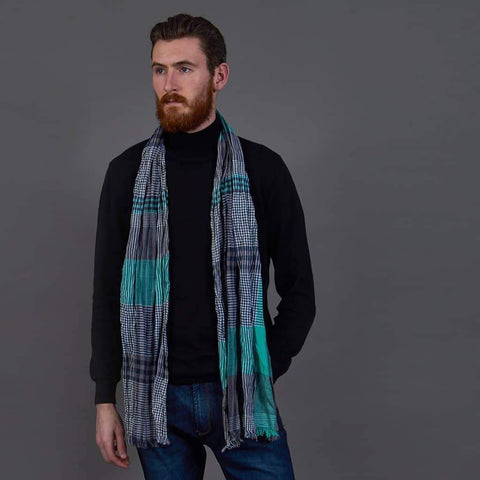 Green/Grey Cotton Scarf