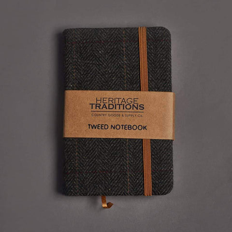 Grey Herringbone Tweed Notebook