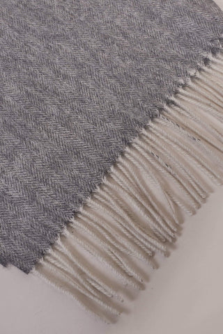 Grey Herringbone Wool Scarf