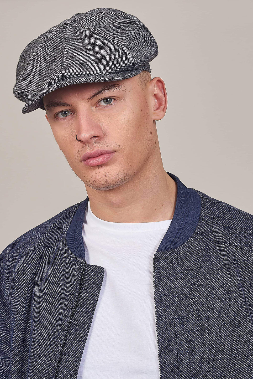 Grey Tweed 8 Piece Newsboy Cap One size