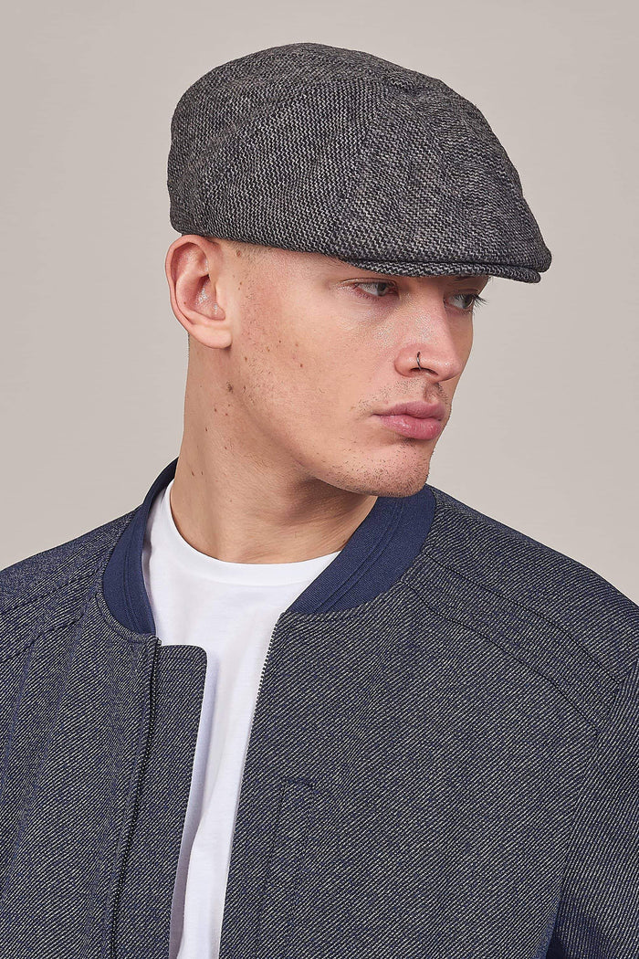 Grey Tweed Peaky Stud Newsboy Cap One Size