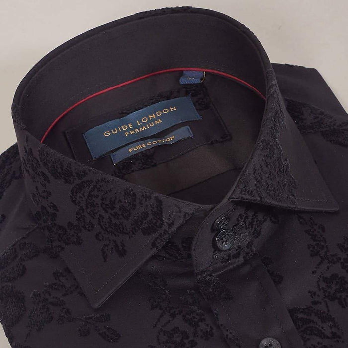 Guide London Black Flocked Flower Print Cotton Sateen Shirt