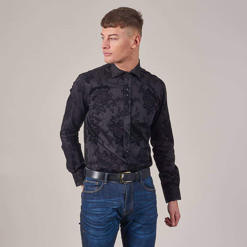 Guide London Black Flocked Flower Print Cotton Sateen Shirt S / Black