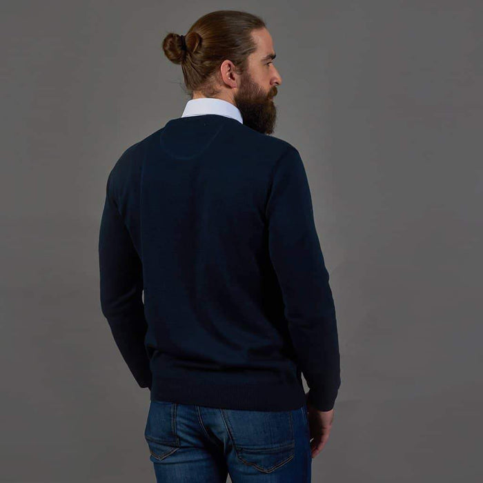 Guide London Cotton Crew Neck Sweater - Navy