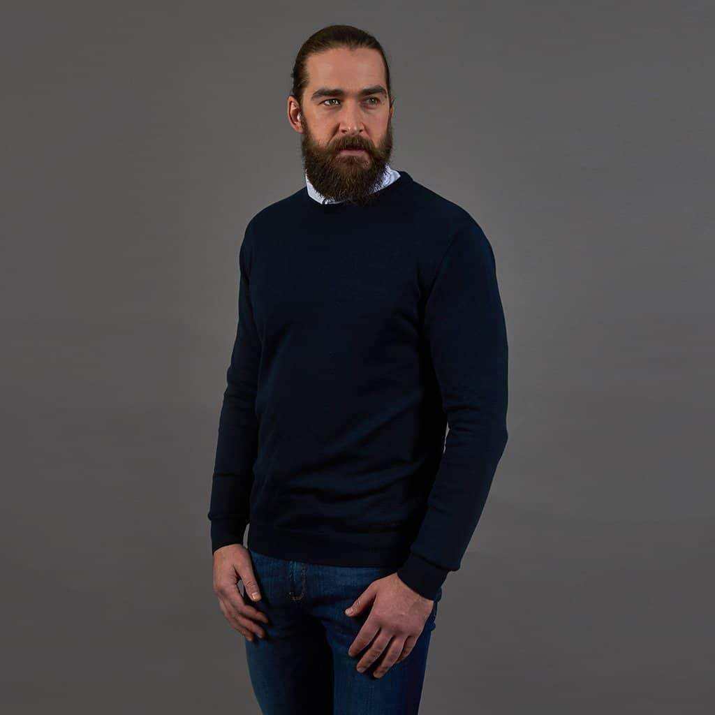 Guide London Cotton Crew Neck Sweater - Navy S - 36