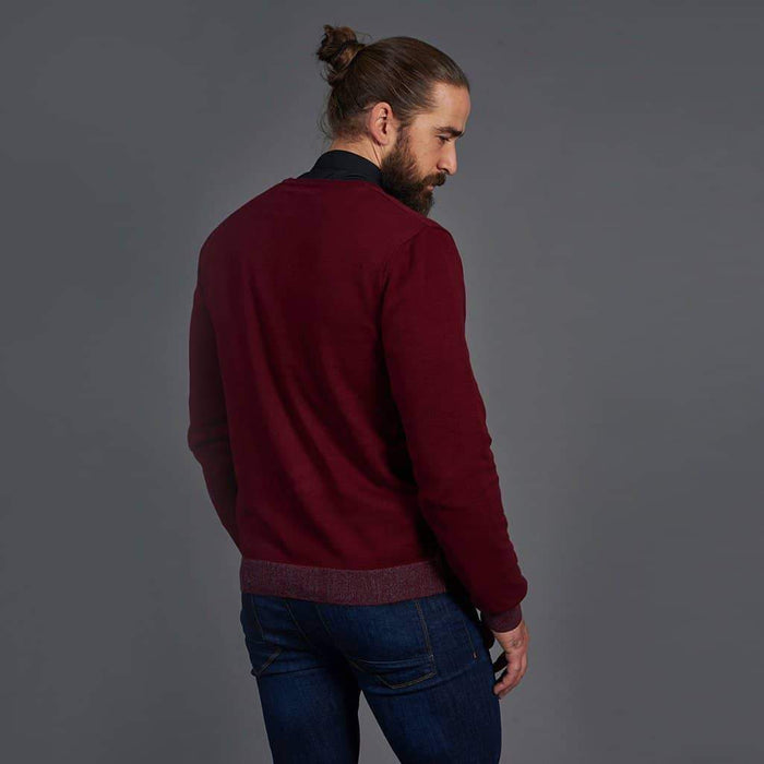 Guide London Cotton Dark Red V-Neck Sweater