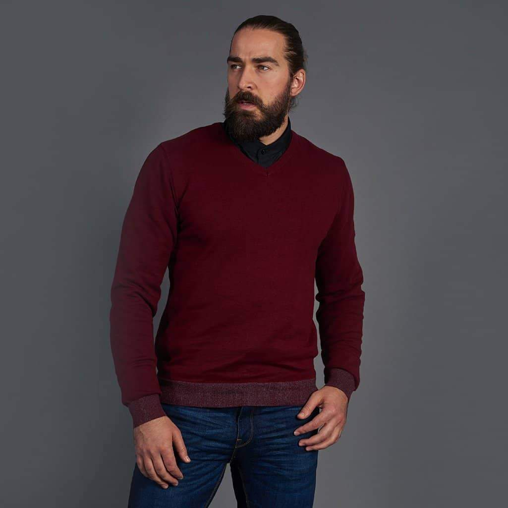 Guide London Cotton Dark Red V-Neck Sweater S - 36 / Dark Red