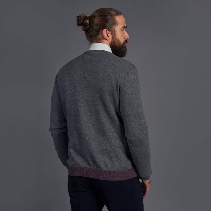 Guide London Cotton Grey V-Neck Sweater