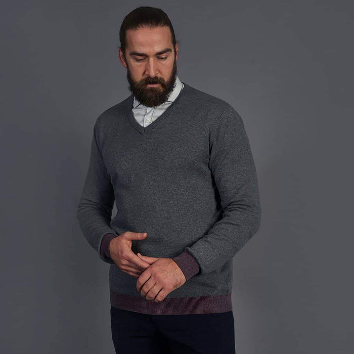 Guide London Cotton Grey V-Neck Sweater S - 36 / Grey