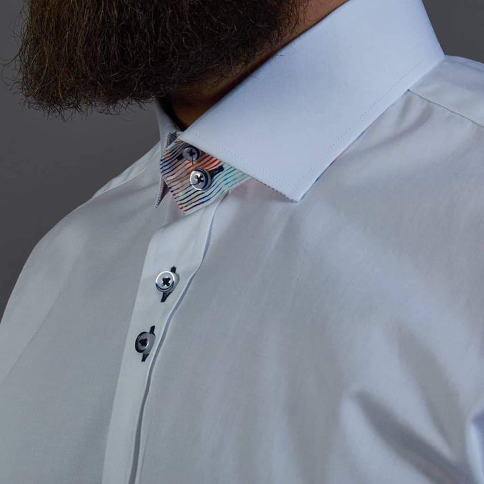 Guide London Cotton Jacquard Shirt With Multi Stripe Collar Stand - White