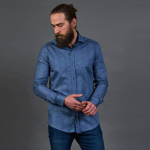 Guide London Cotton Navy Distortion Print Shirt