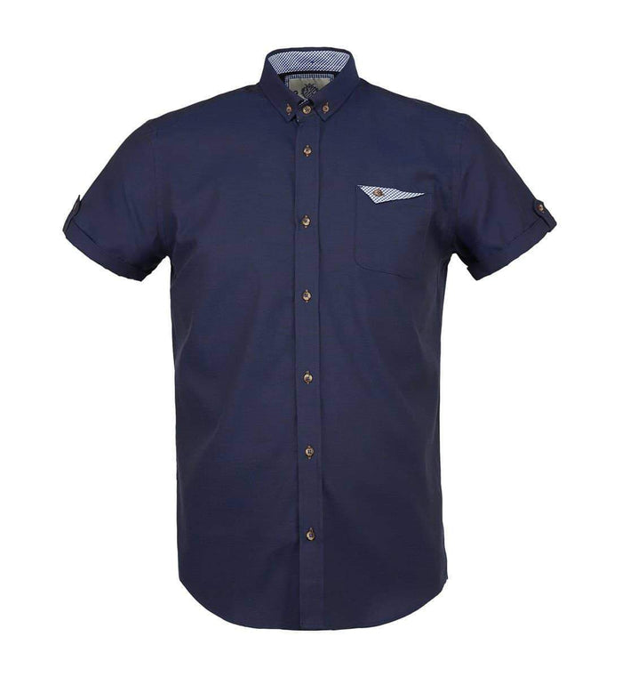 Guide London Cotton Short Sleeve Oxford Shirt - Navy S
