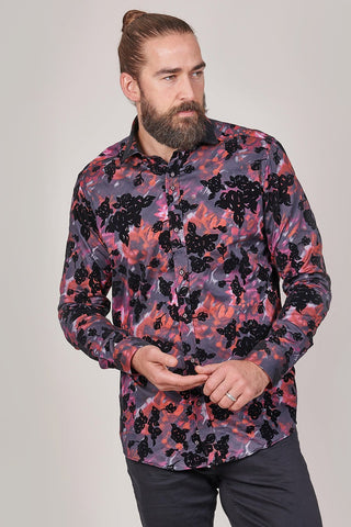 Guide London Flock Cotton Shirt with Floral Contrast In Black
