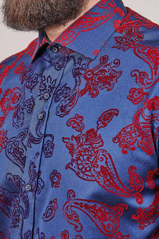 Guide London Guide London Flock Cotton Shirt with Floral Contrast In Navy £45.00