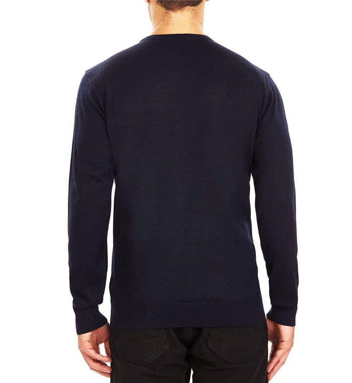 Guide London Jacquard Front Crew Neck Sweater - Navy
