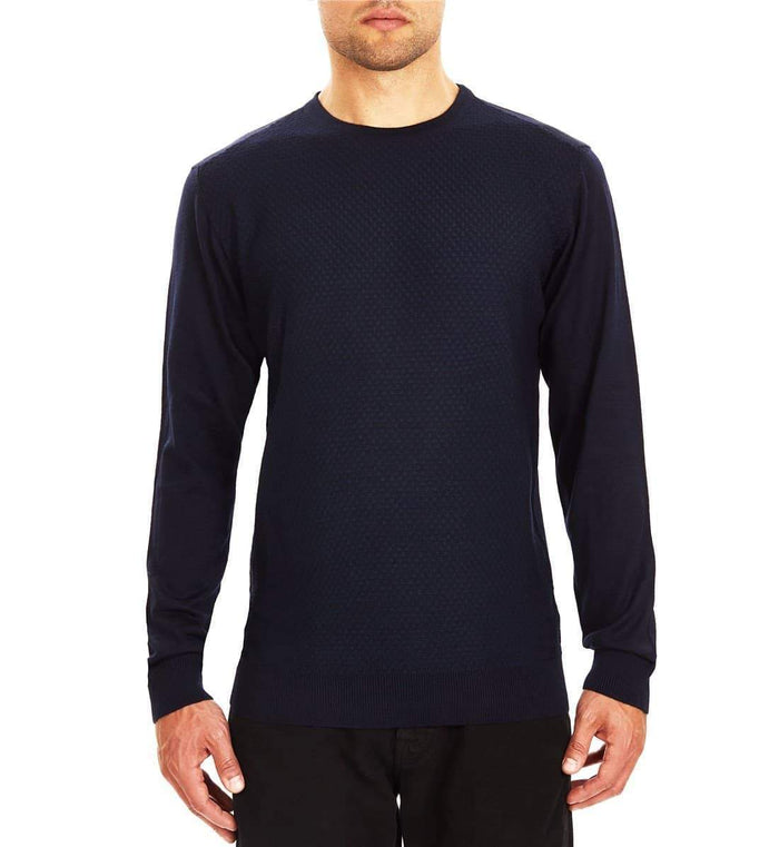 "Guide London Jacquard Front Crew Neck Sweater - Navy S - 36"" / Navy"
