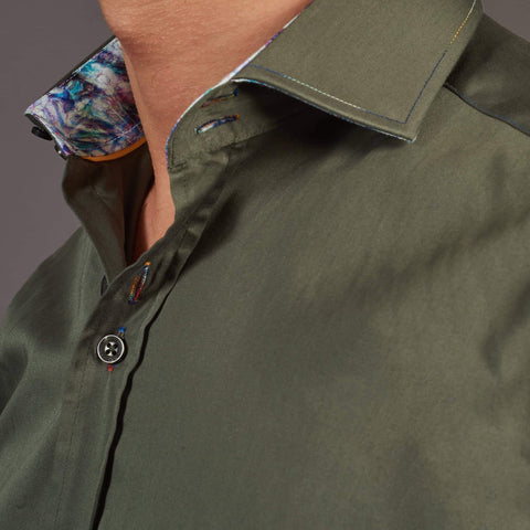 Guide London Guide London Khaki Cotton Sateen Multi-Coloured Stitch Shirt £40.00