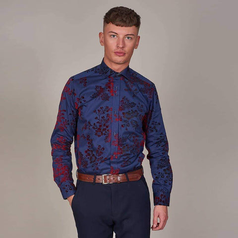 Guide London Navy Cotton Shirt with Floral Velvet Contrast S / Navy