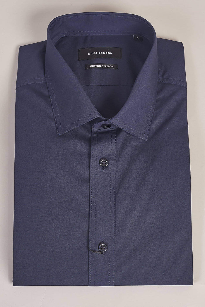 Guide London Navy Cotton Stretch Short Sleeved Shirt