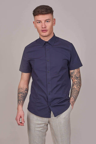Guide London Navy Cotton Stretch Short Sleeved Shirt S