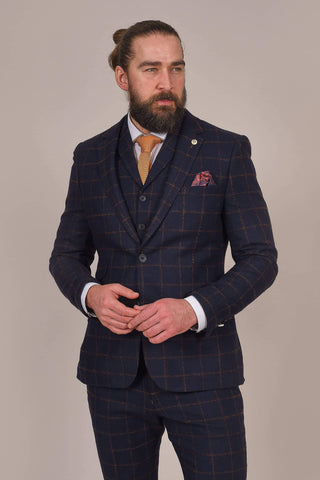 Guide London Navy Rust Check Single Breasted Tweed Suit guide-london-navy-rust-check-tweed-blazer / guide-london-navy-rust-check-single-breasted-tweed-waistcoat / guide-london-navy-rust-check-tweed-trousers