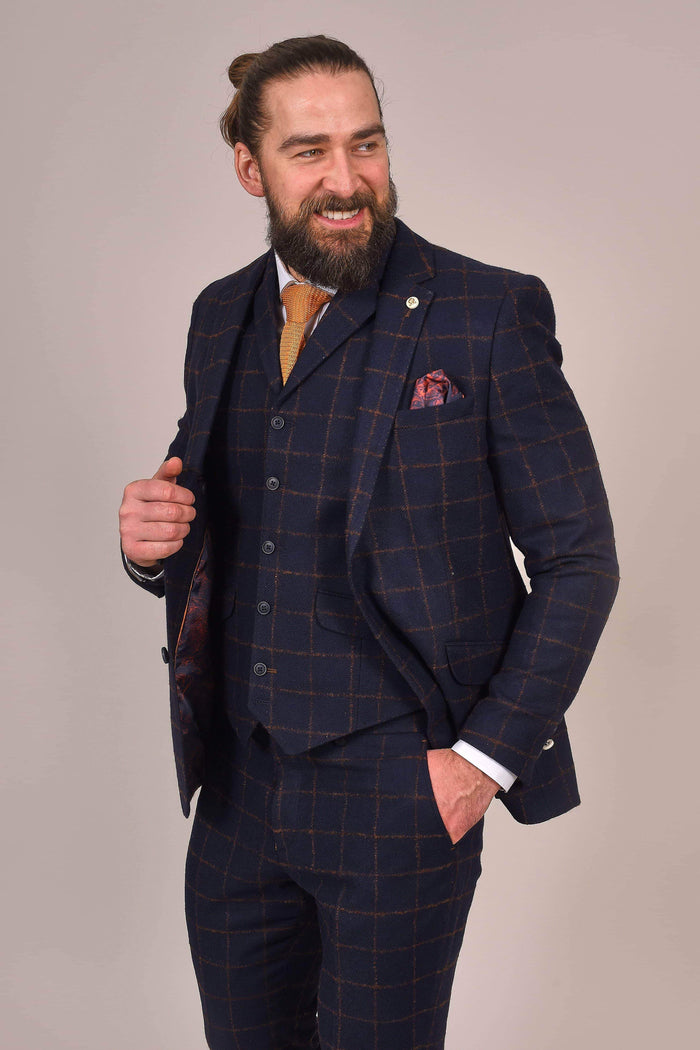 Guide London Navy Rust Check Tweed Blazer 38R / Navy