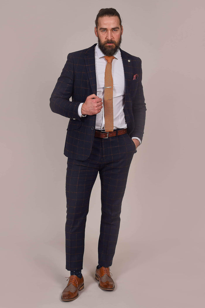 Guide London Navy Rust Check Tweed Blazer