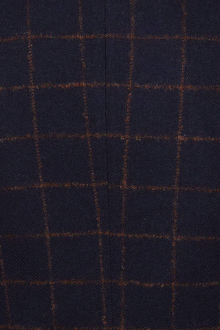 Guide London Navy Rust Check Tweed Trousers 32R / Navy