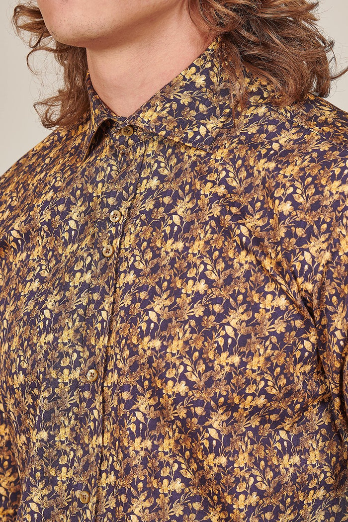 Guide London Guide London Navy Shirt With Golden Flower Print £79.99