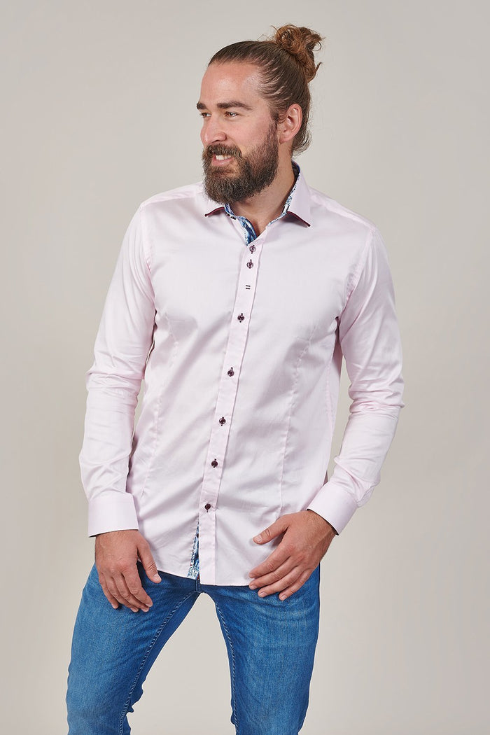 Guide London Pink Cotton Shirt With Contrast Burgundy Collar