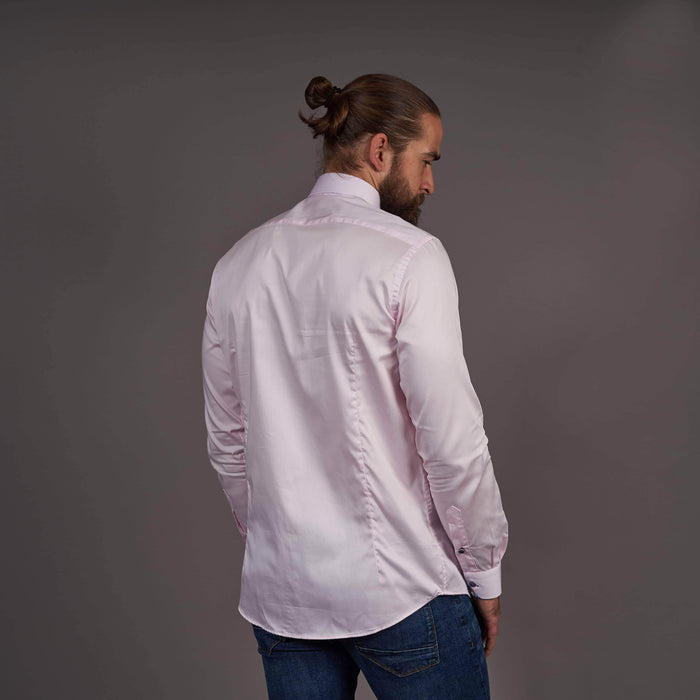 Guide London Pink Cotton Shirt With Contrast Placket Detail