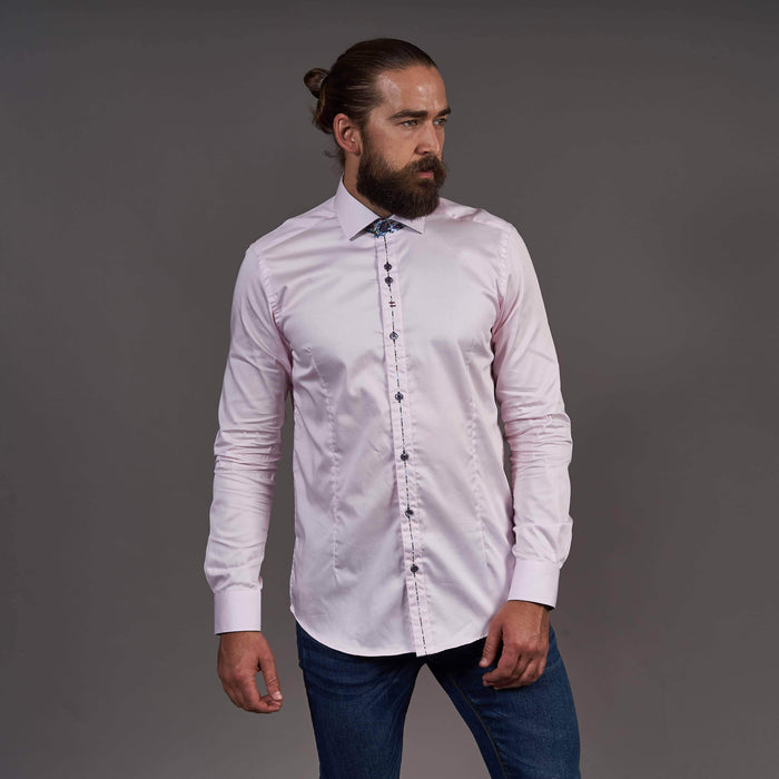Guide London Pink Cotton Shirt With Contrast Placket Detail S / Pink