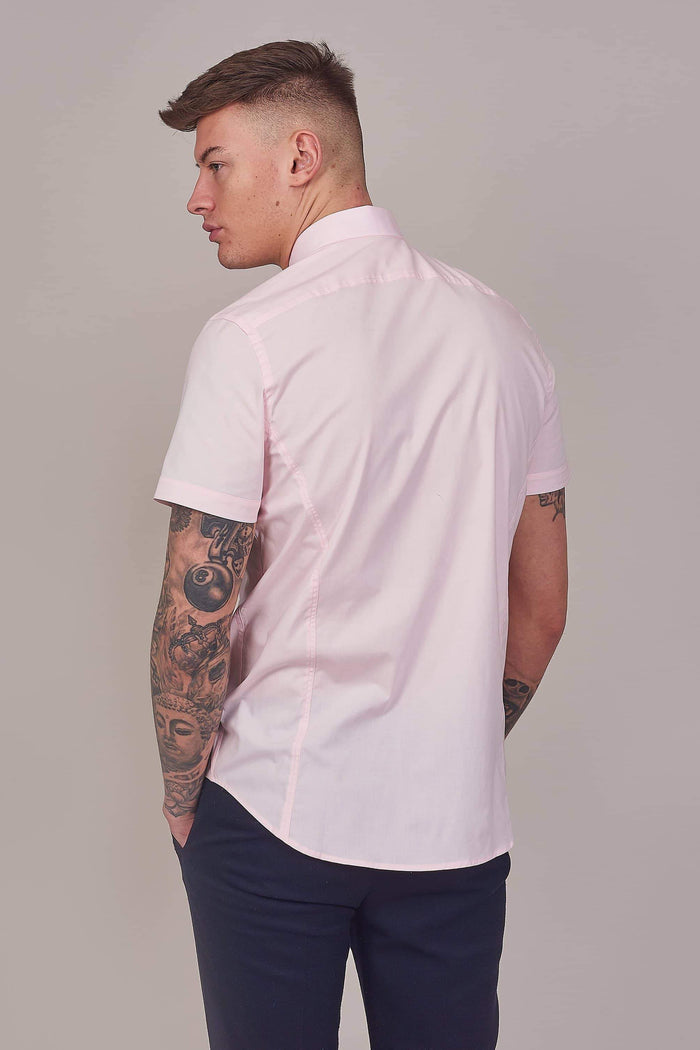 Guide London Pink Cotton Stretch Short Sleeved Shirt