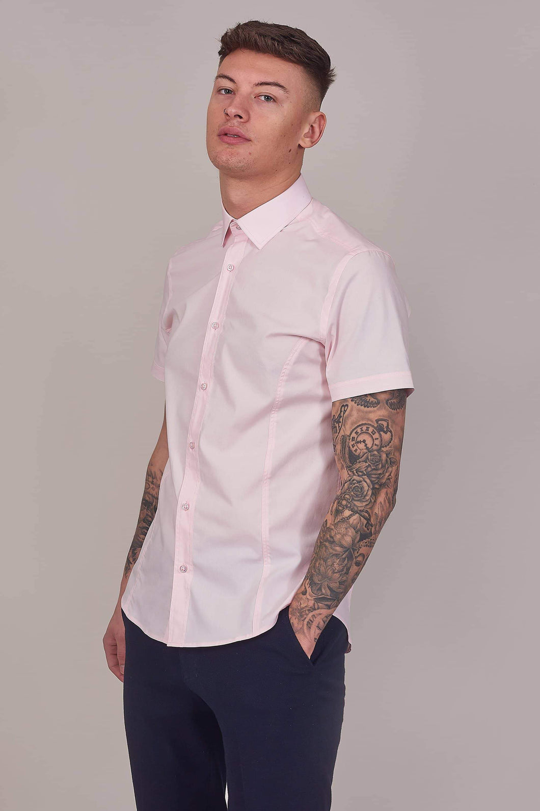 Guide London Pink Cotton Stretch Short Sleeved Shirt S