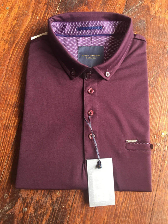 Guide London Plain Cotton Button Down Polo Shirt - Burgundy S